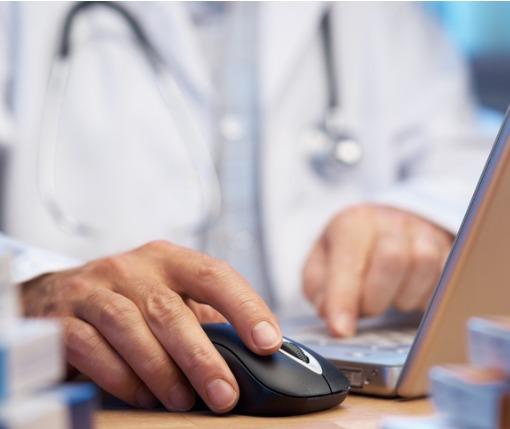doctor searching Prescription Drug Monitoring Program