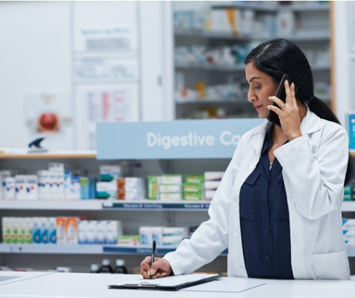 pharmacist communicating with physician about prescription opioids