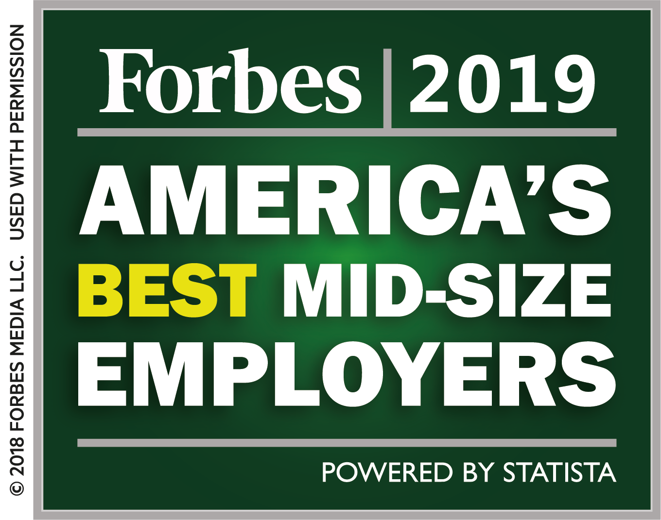 Logo for Forbes magazine's 2019 ranking of America's Best Mid-size Employers.