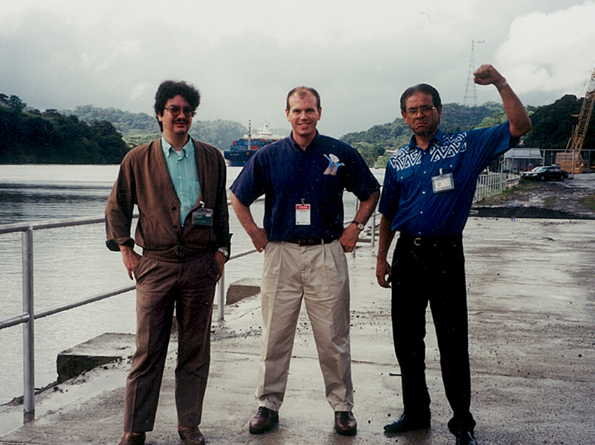 Early relationship-building between CWR and the ACP: Michael Kane visiting the Panama Canal with Manuel Vilar and Modesto Echevers, two of the first hydrologists trained to use and calibrate PANFCST (photo by Jay Day).