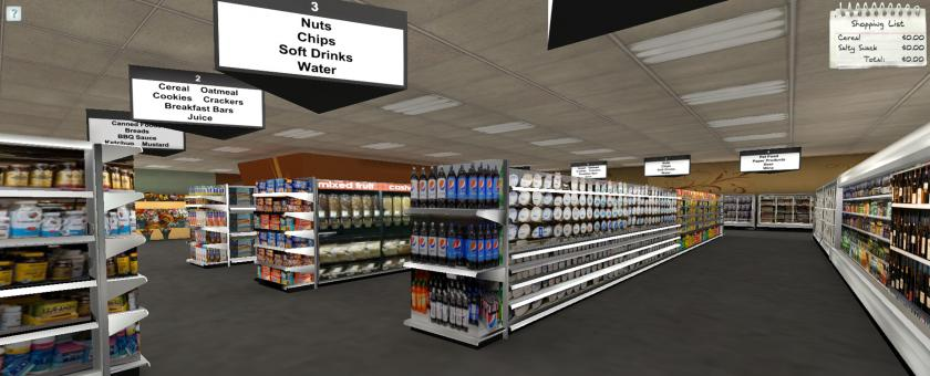 RTI iShoppe, a 3D shopping environment, simulates the experience of shopping in a grocery store.