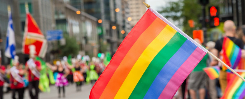 Celebrants at a Pride parade