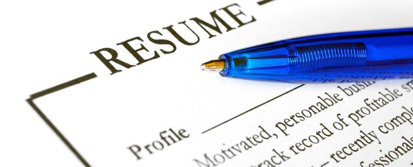 A closeup of a resume
