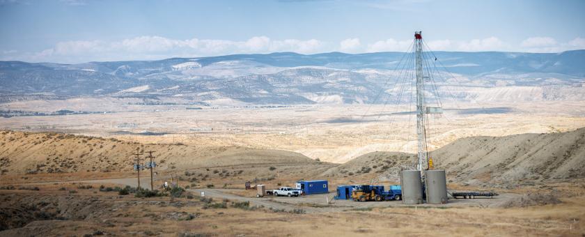 A fracking rig