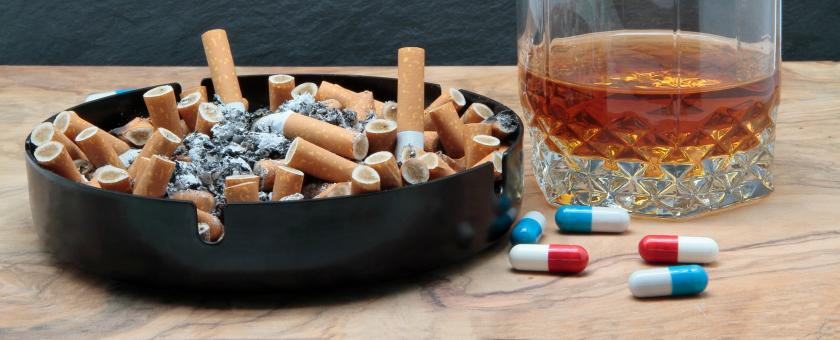 Pills, alcohol and cigarettes