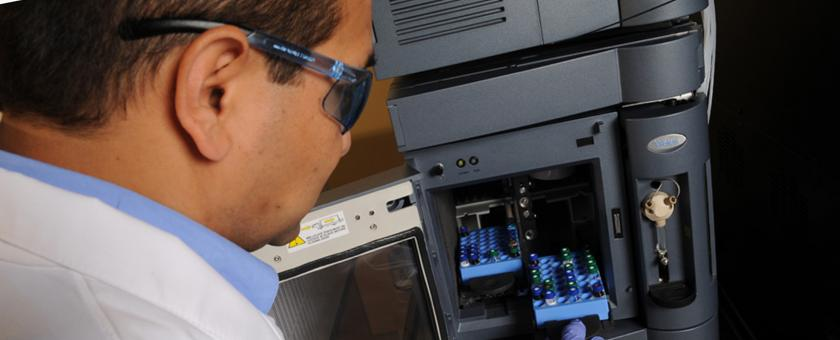researcher prepares samples in our metabolomics laboratory