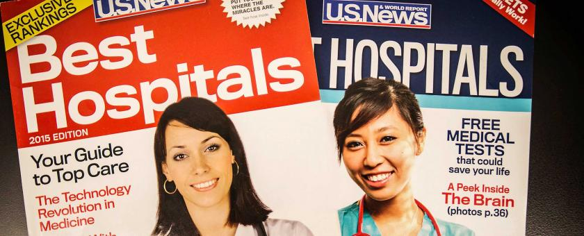 Covers of the 2012 and 2105 Best Hospitals listings