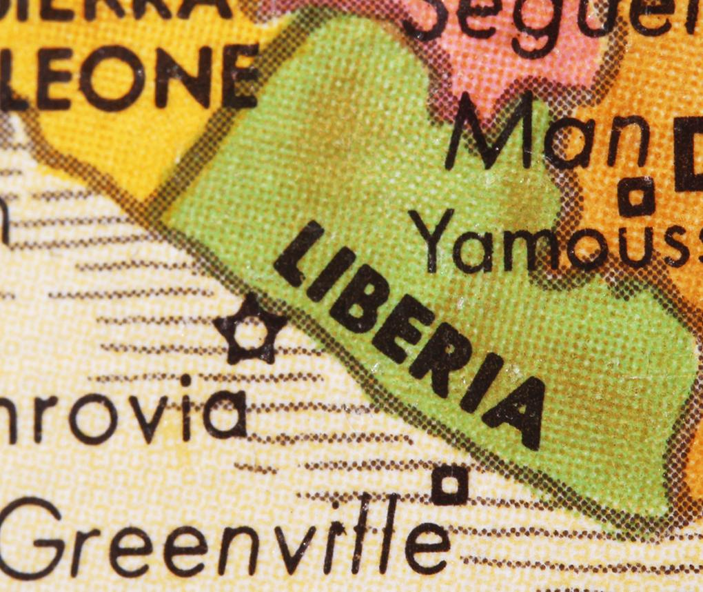 A map shows the boundaries of the west African nation of Liberia.