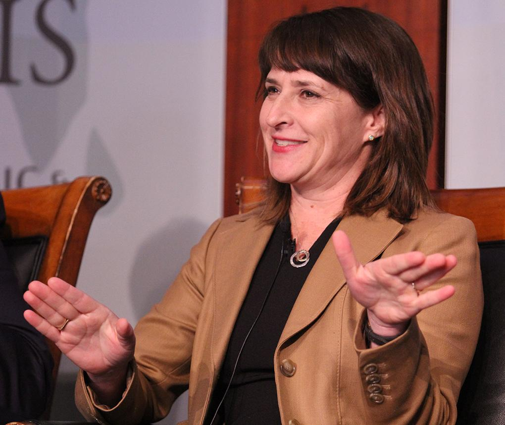 RTI economist Sara Lawrence speaks during a panel discussion at the Center for Strategic and International Studies.