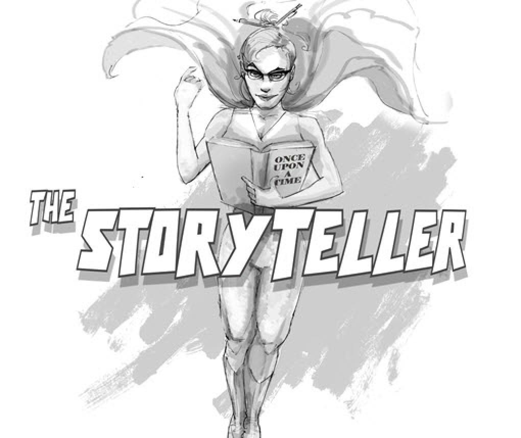 A drawing of a caped superhero named 'The Storyteller.'