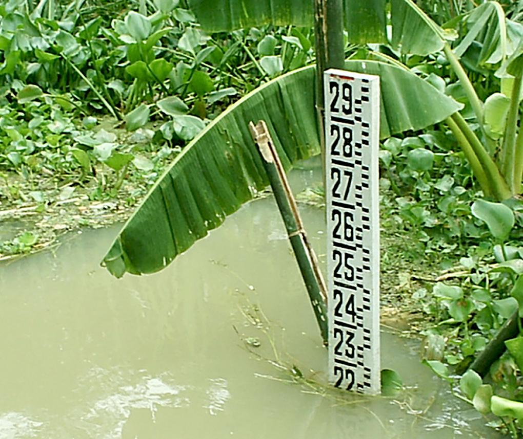 measuring tape in water