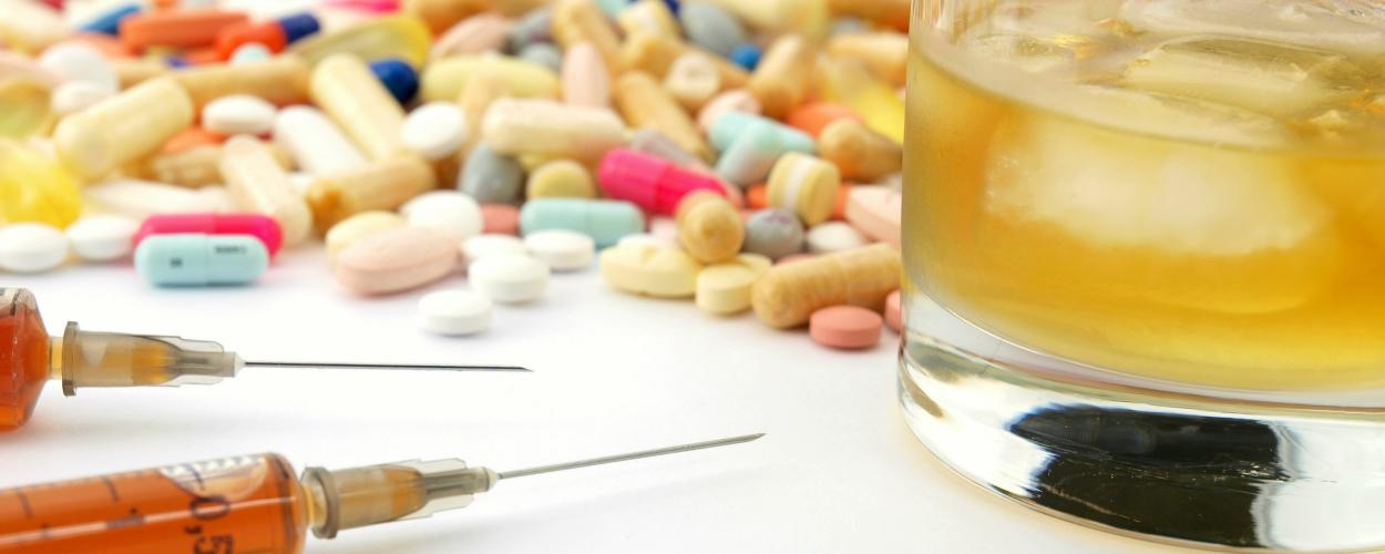 Pills, injectable drugs and alcohol