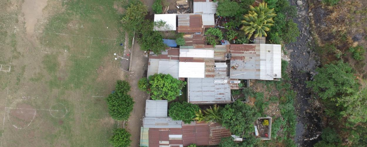 Aerial photo of a housing area in rural Guatemala taken by a research drone