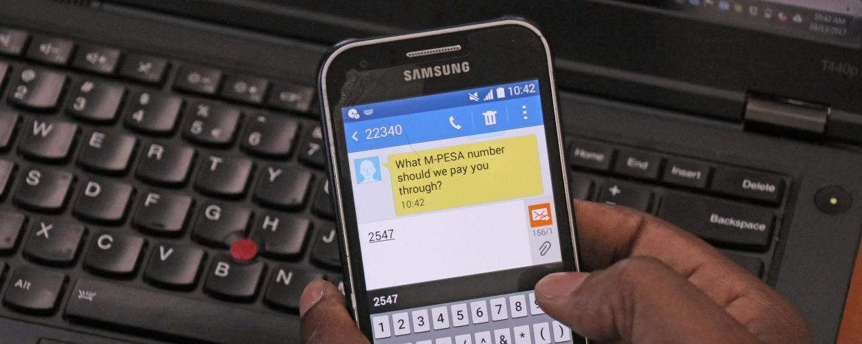 Mobile phone screen showing Gooseberry interface with M-PESA message