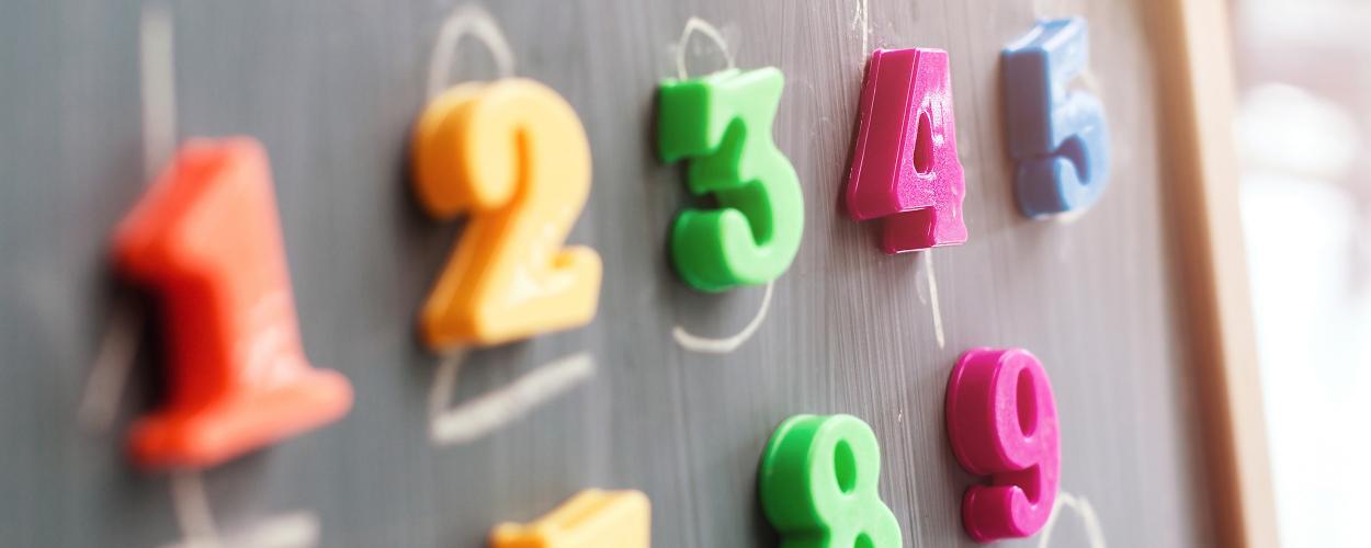 Number magnets on a blackboard