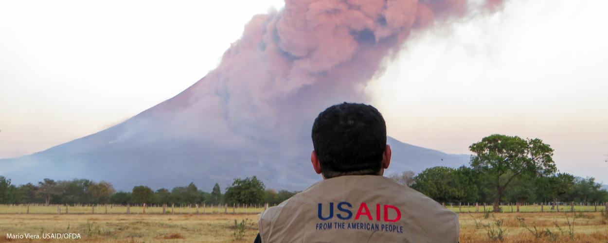 A USAID employee monitors an active volcano in Nicaragua.