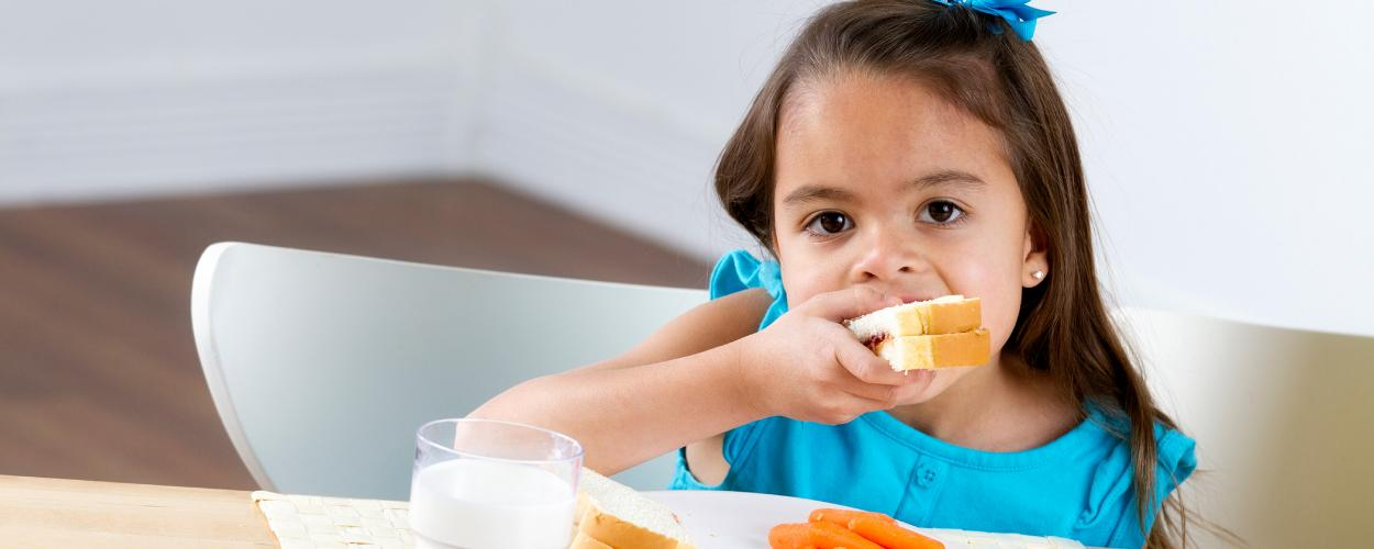 A preschool girl eating a sandwich