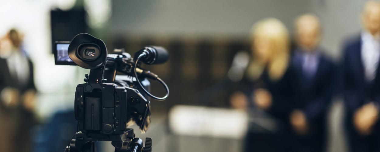 Video camera at a press conference