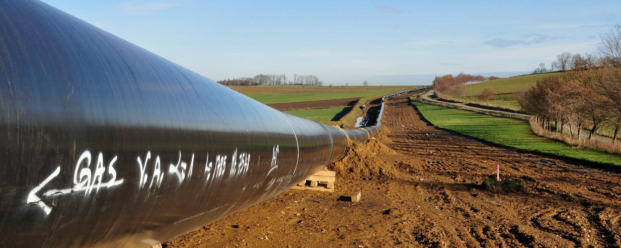 Gas pipeline through farmland