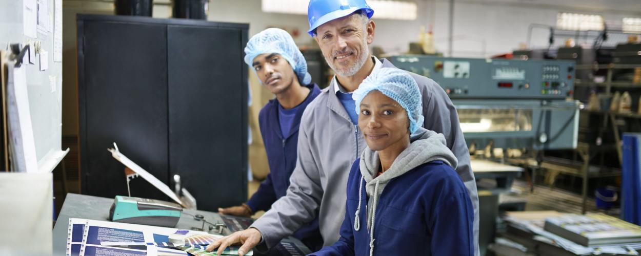 Adult in industry job