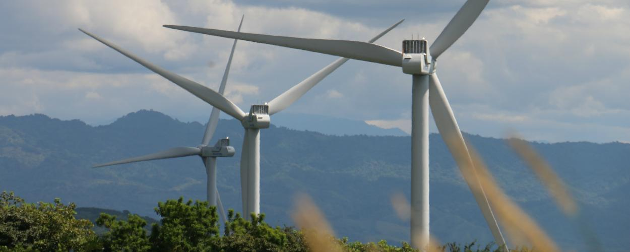 Wind turbines generate electricity on a hillside.