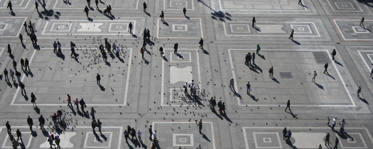 People walking in random patterns