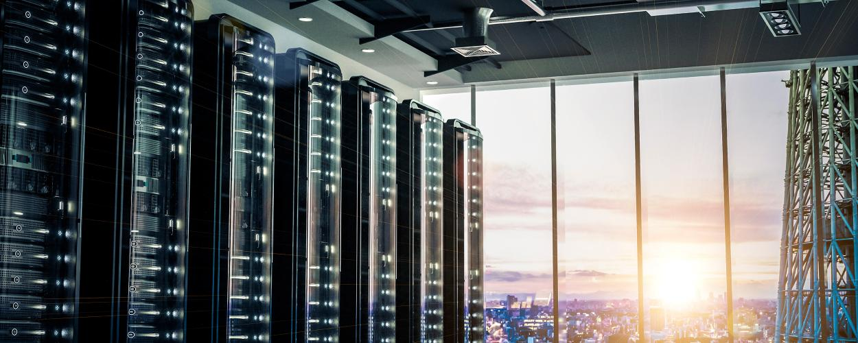 Server racks at sunset