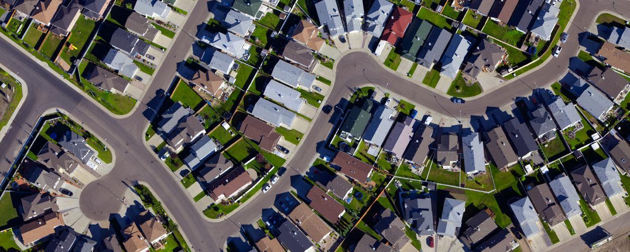 Aerial photograph of neighborhood