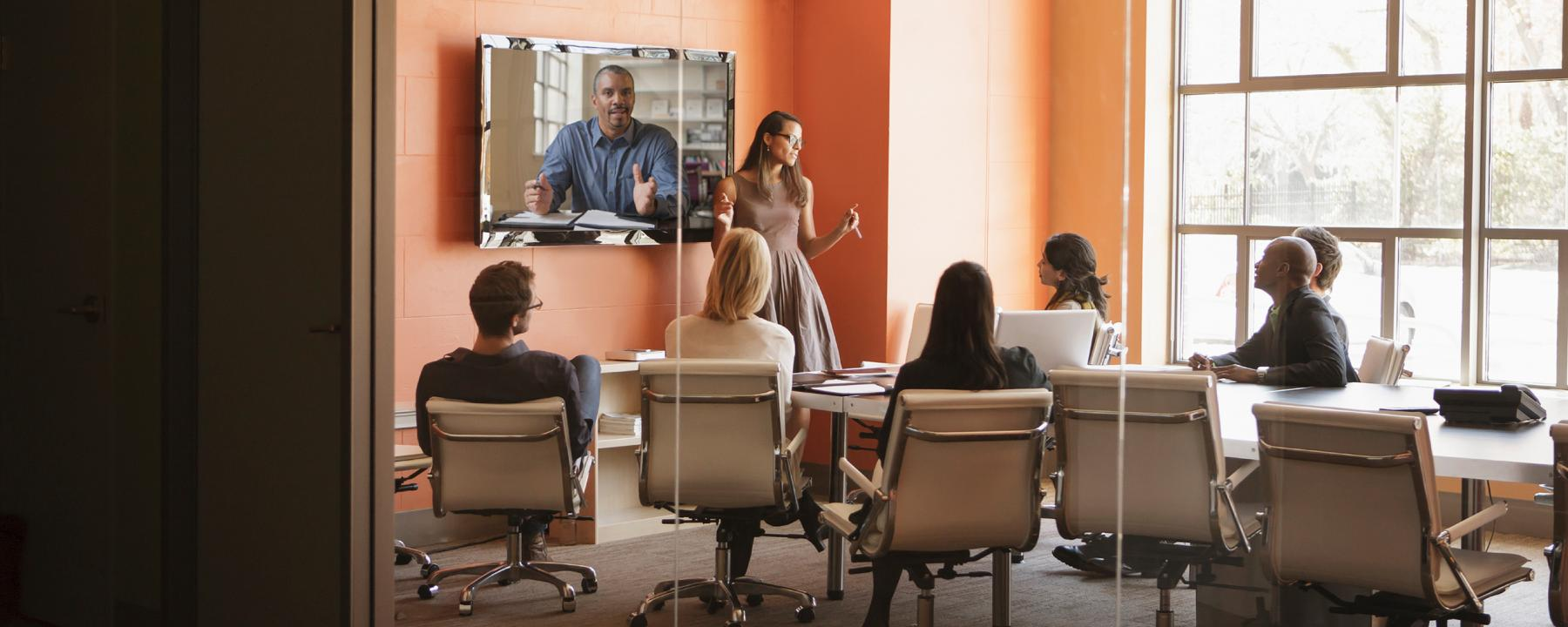 virtual meeting in a conference room