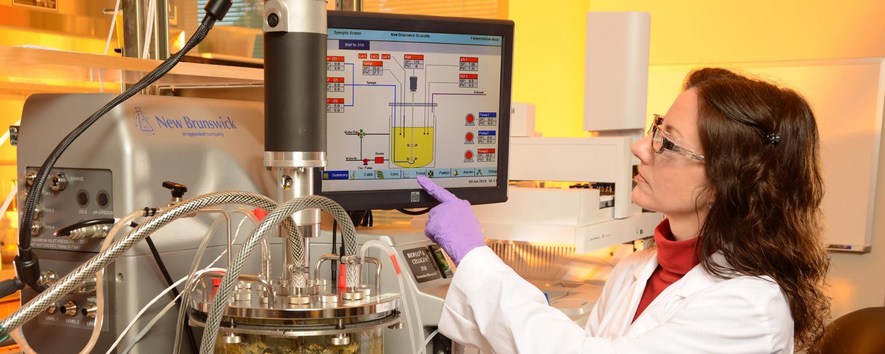 Woman using anaerobic bioreactor equipment