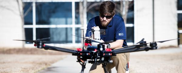 A drone flight on the RTI campus