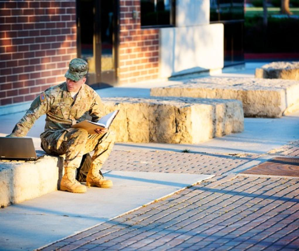 An American soldier on a US college campus