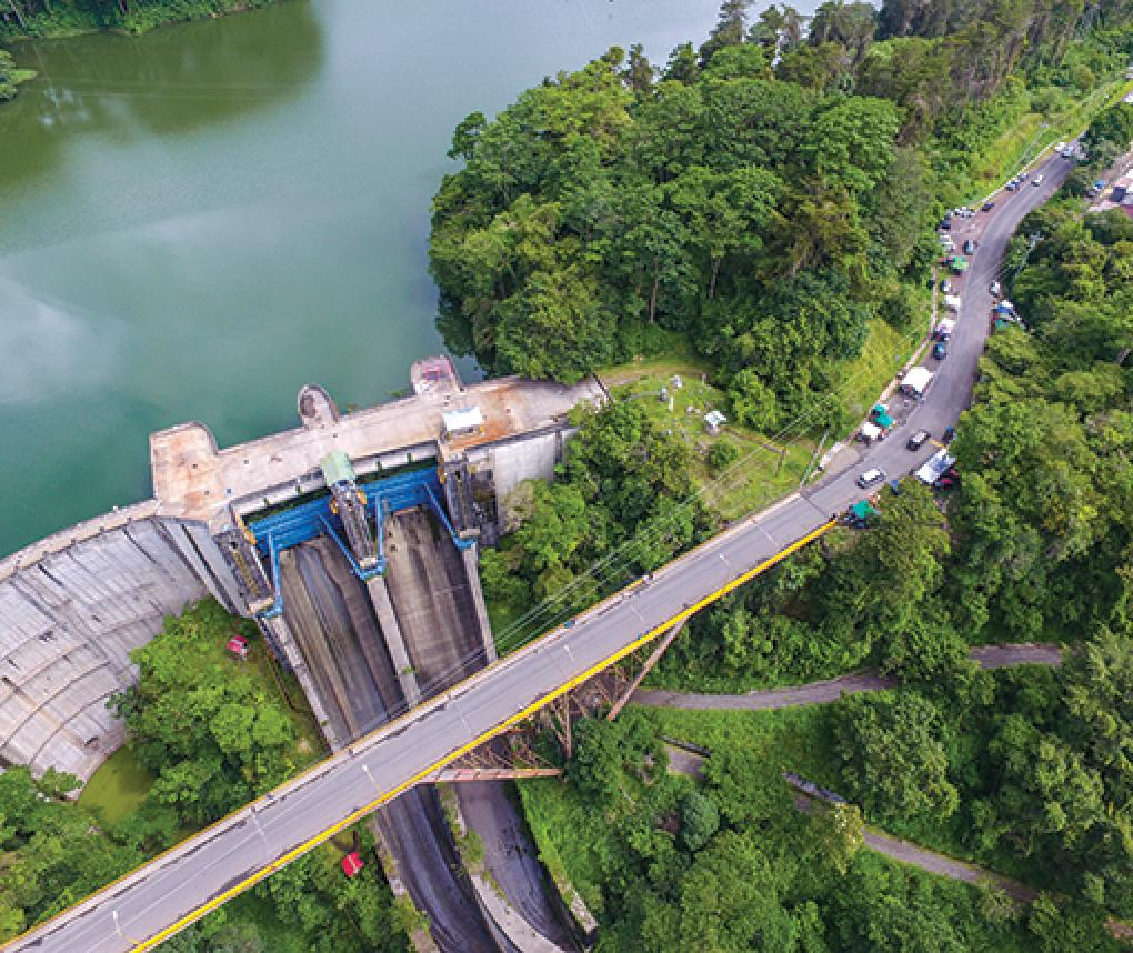 An aerial view of a hydropower dam.