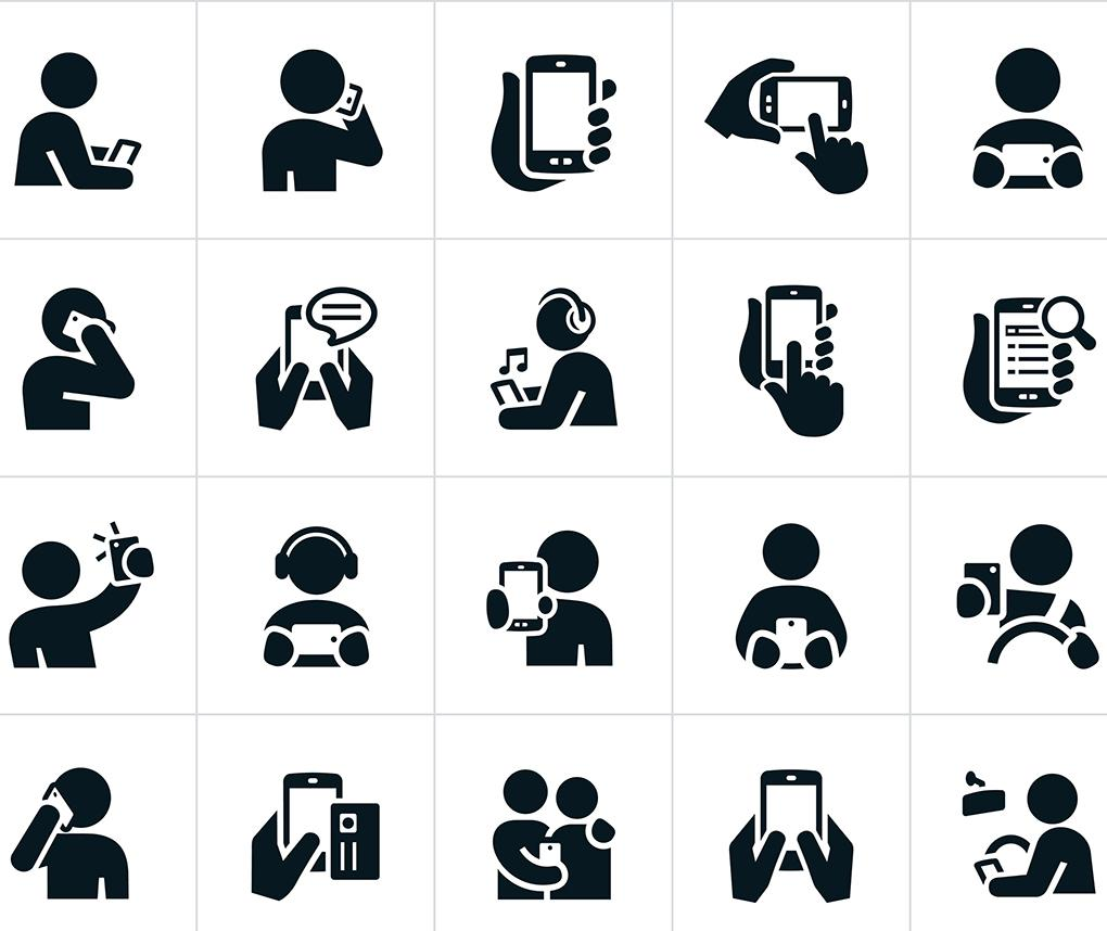 A collection of illustrations of stick figures using smartphones for different applications.