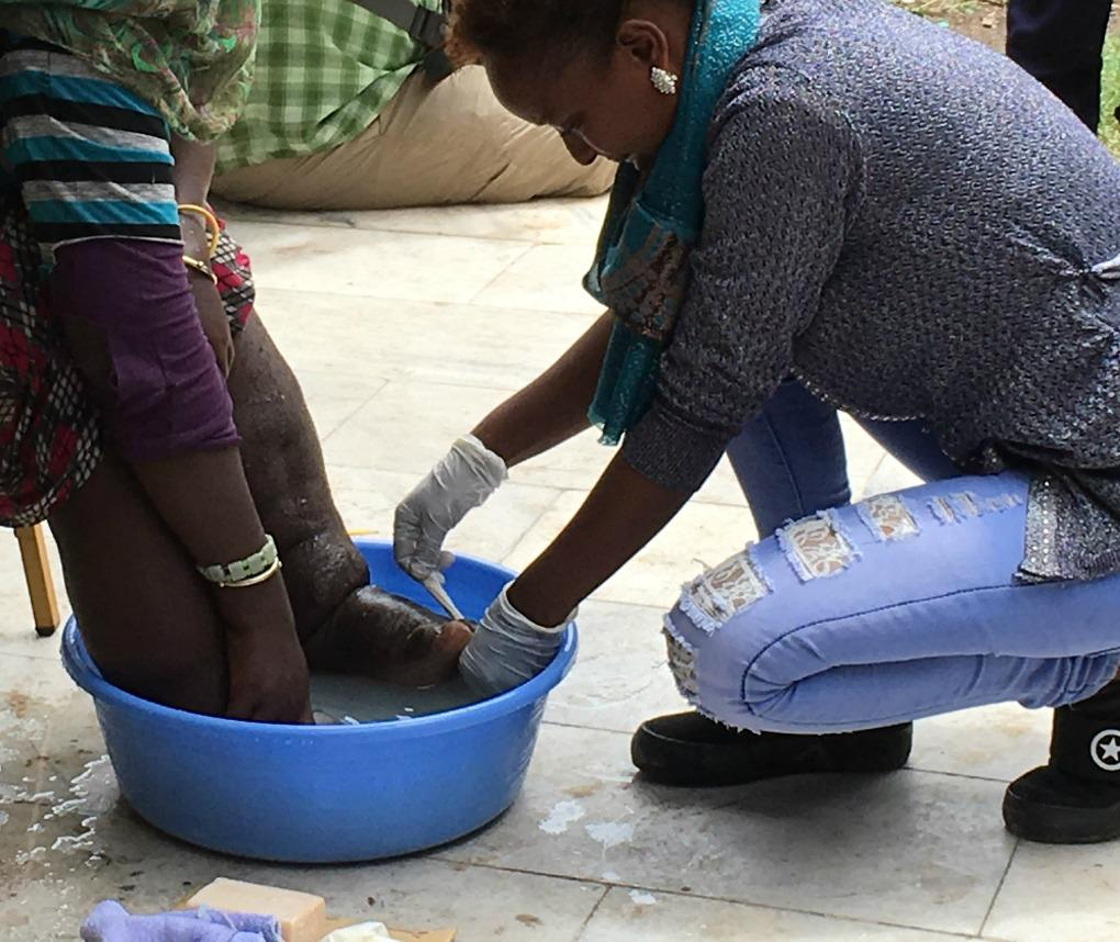 Foot washing in Adama, Ethiopia