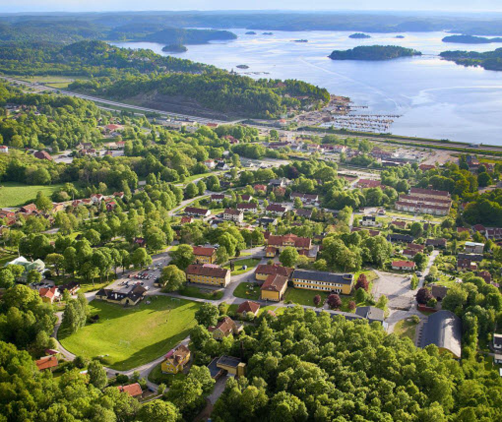 Aerial view of Ljungskile, Sweden, where RTI Health Solutions has an office