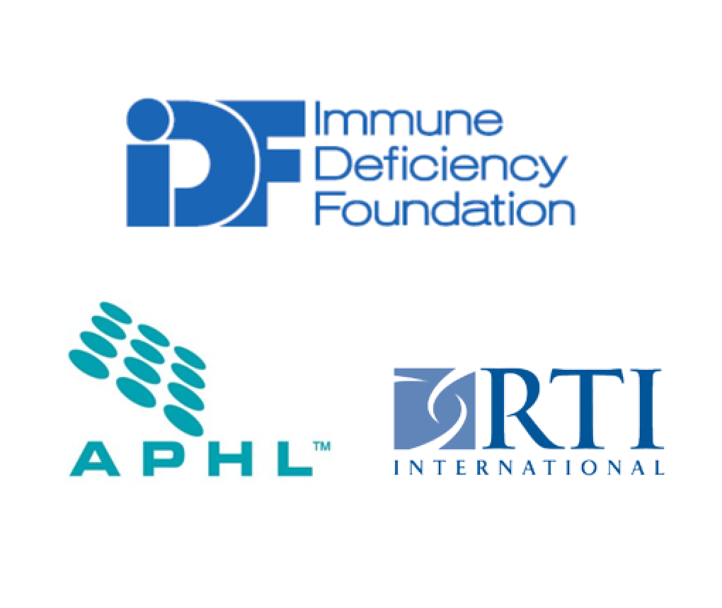 The logos of the Immune Deficiency Foundation, Association of Public Health Laboratories, and RTI.