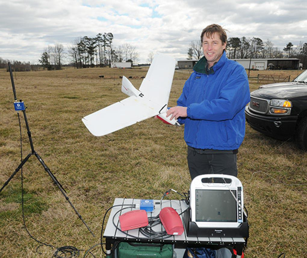 RTI researcher Joe Eyerman demonstrates one of his drones