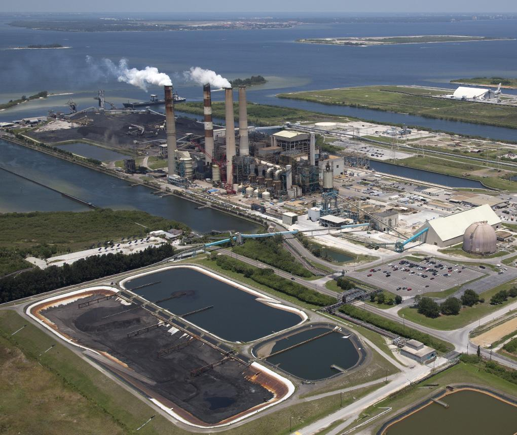 An aerial view of a coal-fired power plant on the west coast of Florida.