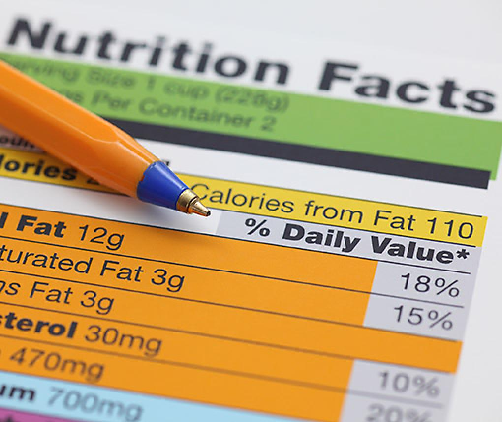 close-up of a nutrition label